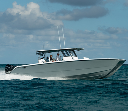 Patented hull design display on the 40 ft. center console Catamaran by Invincible Boats.